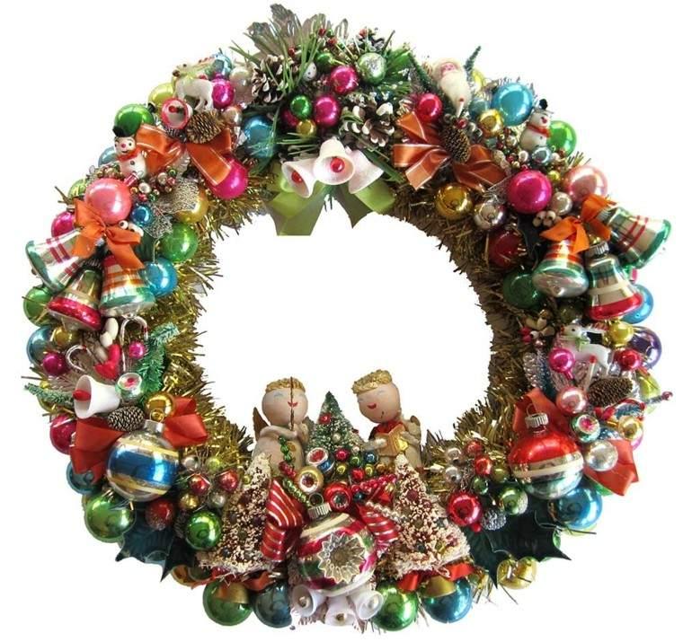 diseño coronas navideñas adornos colores