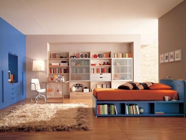 diseño cuarto color azul naranja