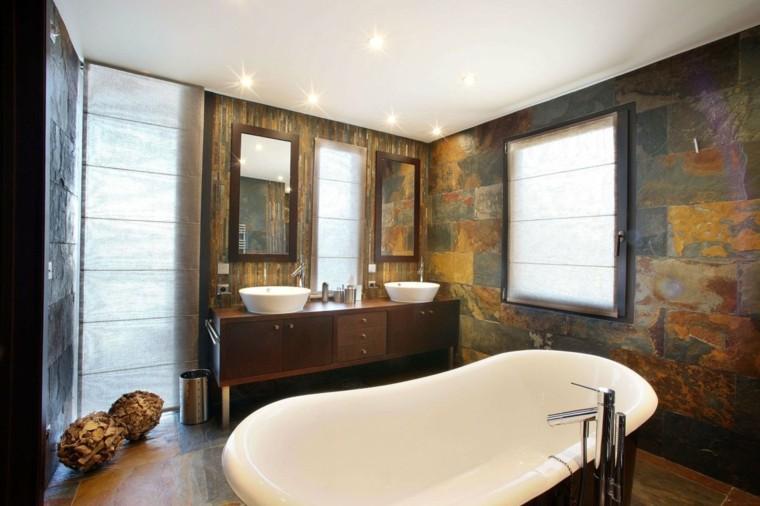 Cuartos de baño rusticos - 50 ideas con madera y piedra