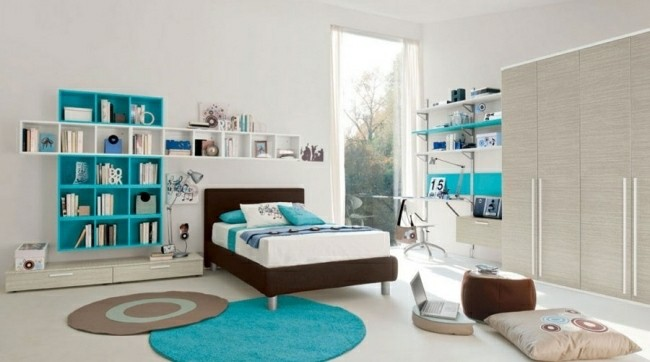 diseño cuarto color blanco turquesa