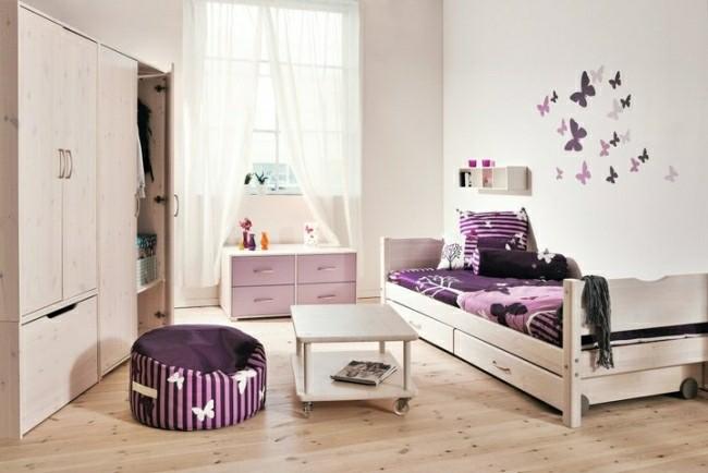 diseño cuarto infantil mariposas pared