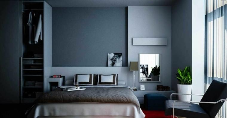 diseño cuarto cama tonos azules