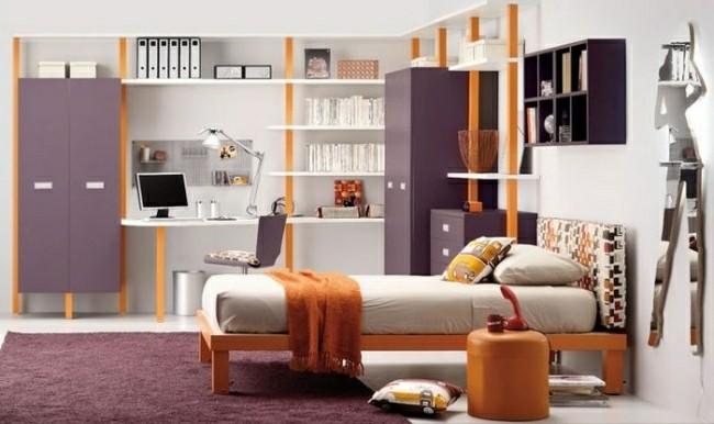diseño cuarto color morado naranja