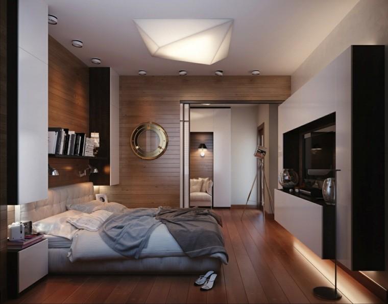 diseño dormitorio adultos madera revestimiento