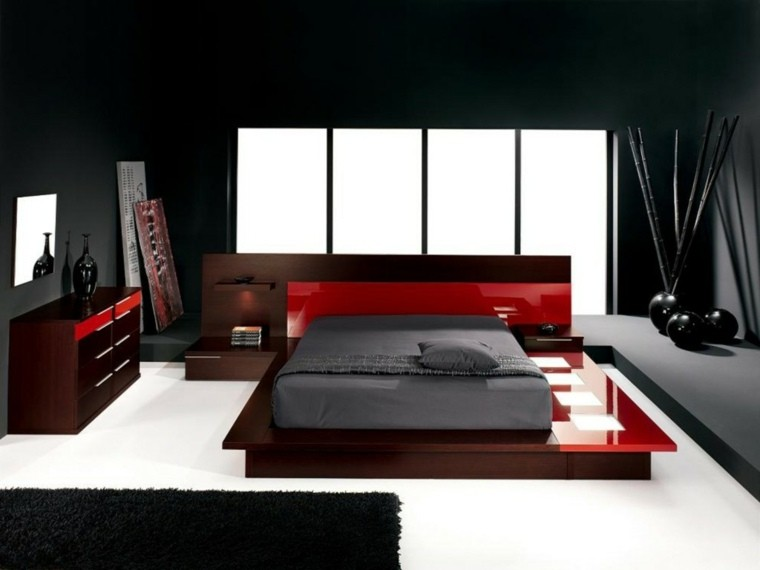diseño dormitorio colores rojo negro