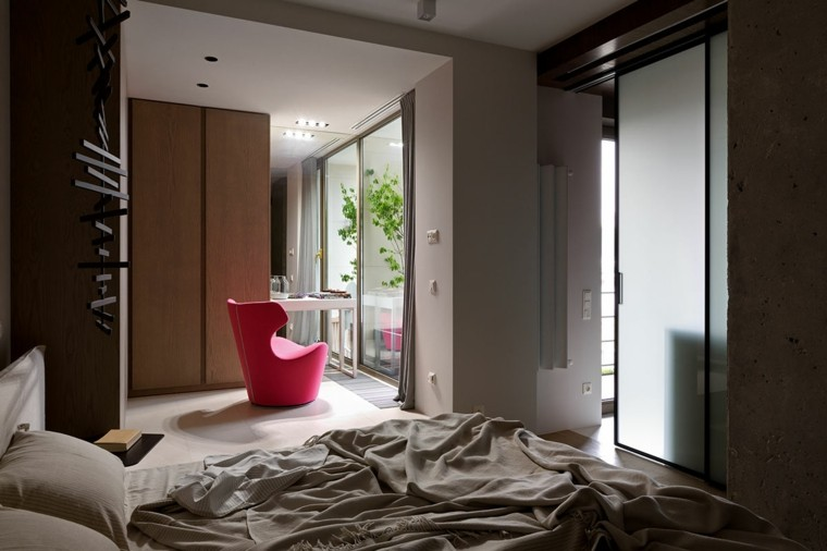 diseño dormitorio sillon color rojo
