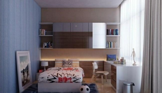diseño dormitorio pared color azul
