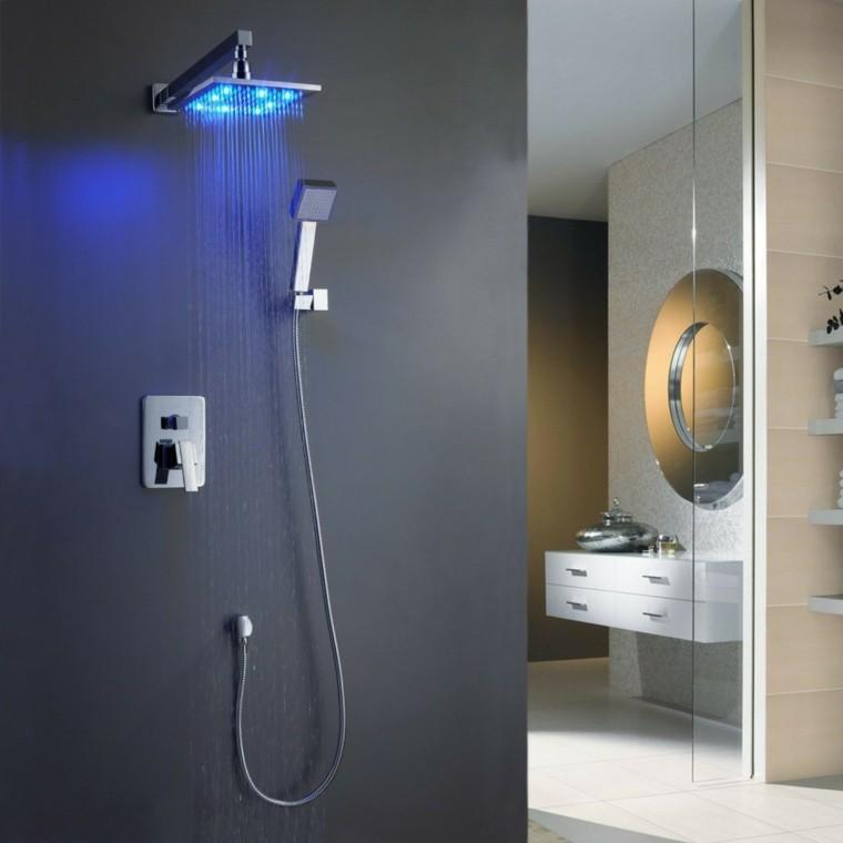diseño ducha moderna luz azul