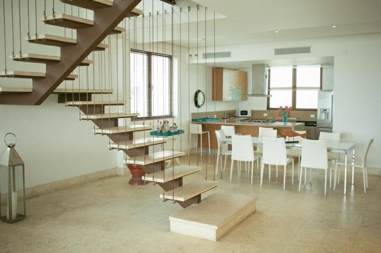 diseño escaleras colgantes marmol beige