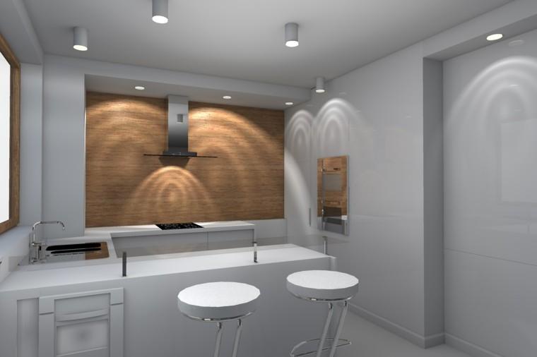 diseño estilo futurista cocina blanca