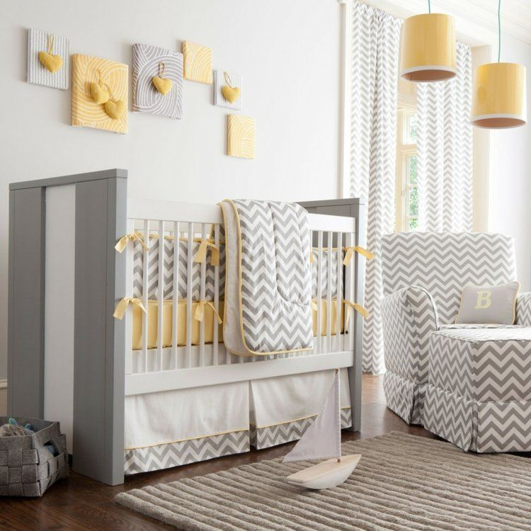diseño habitacion bebe amarillo grises claros