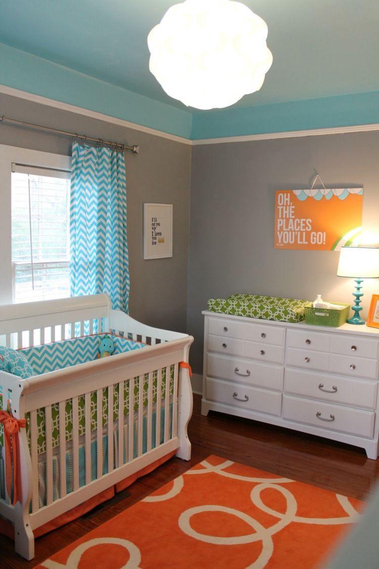 diseño habitacion bebe cortinas cama lampara