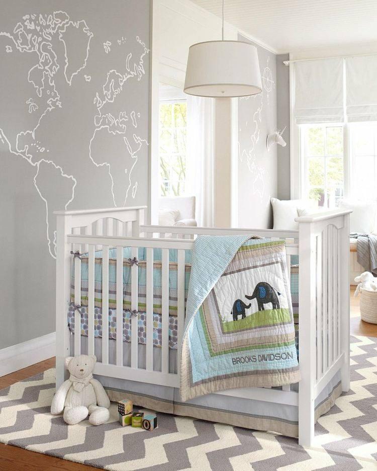 diseño habitacion bebe fresca mapa pared