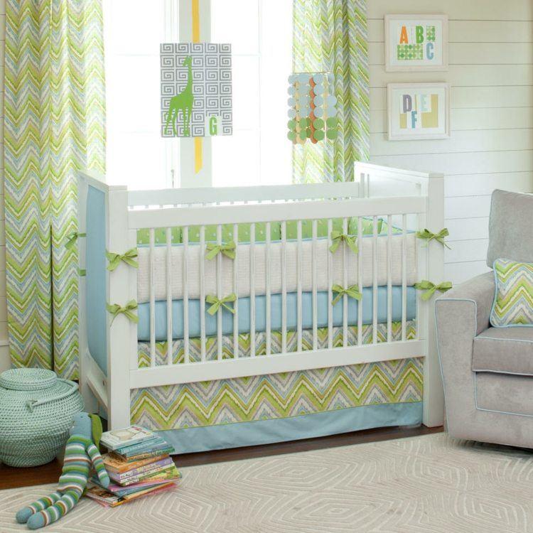 diseño habitacion bebe fresca verdes animales