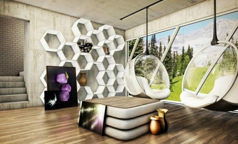 diseño interiores modernos pared cemento