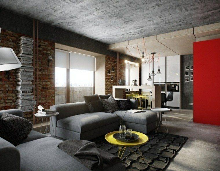 diseño interiores modernos paredes cemento
