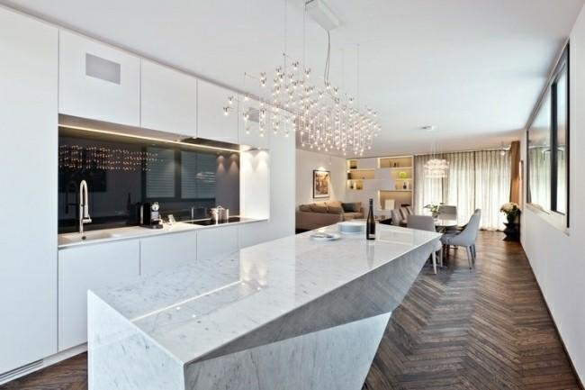 diseño isla cocina moderna marmol