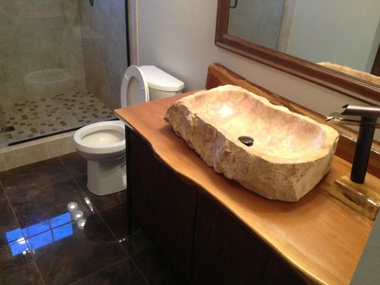 Baño Rustico Con Piedra:Cuartos de baño rusticos – 50 ideas con madera y piedra