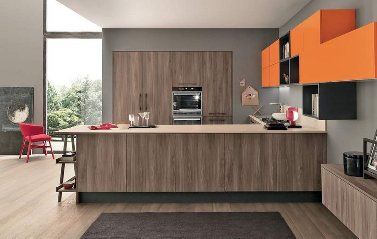 diseño madera cocina gris naranja