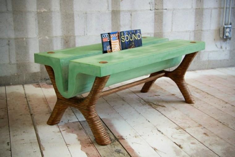 diseño mesa cemento color verde
