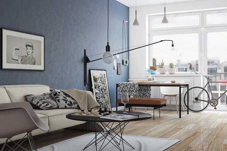 diseño mesa creativo cuadro azul