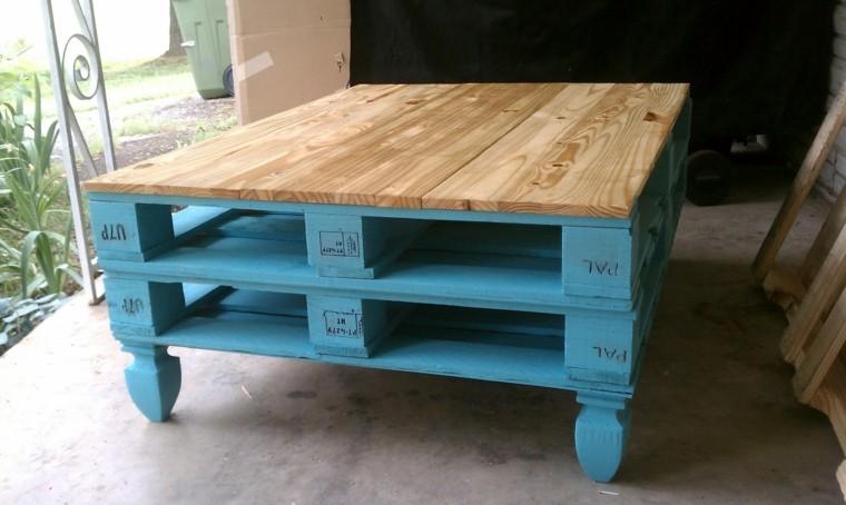 diseño mesa palet color azul