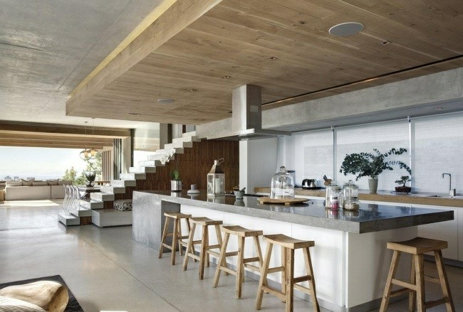 diseño minimalista techo madera