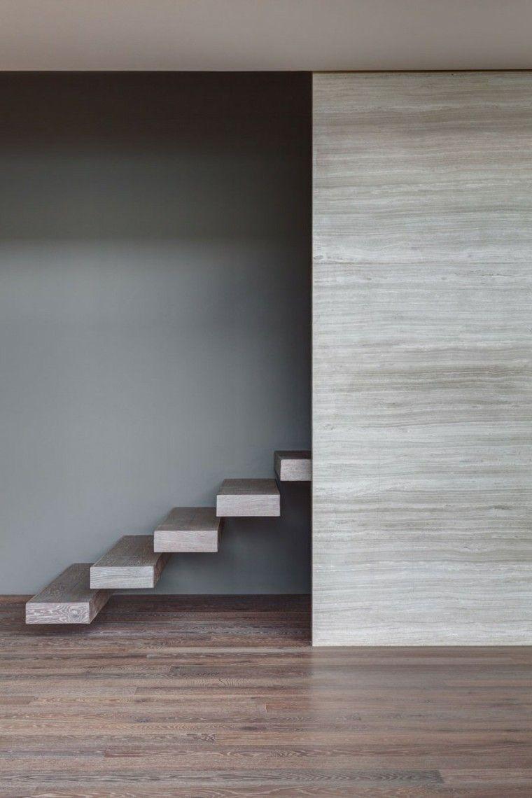 diseño moderno escalones madera suspendidos