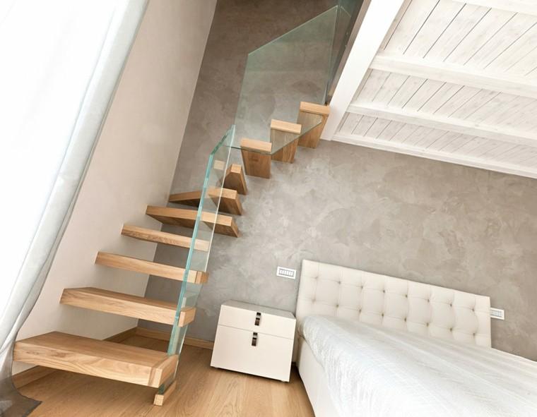diseño moderno escalones madera vidrio