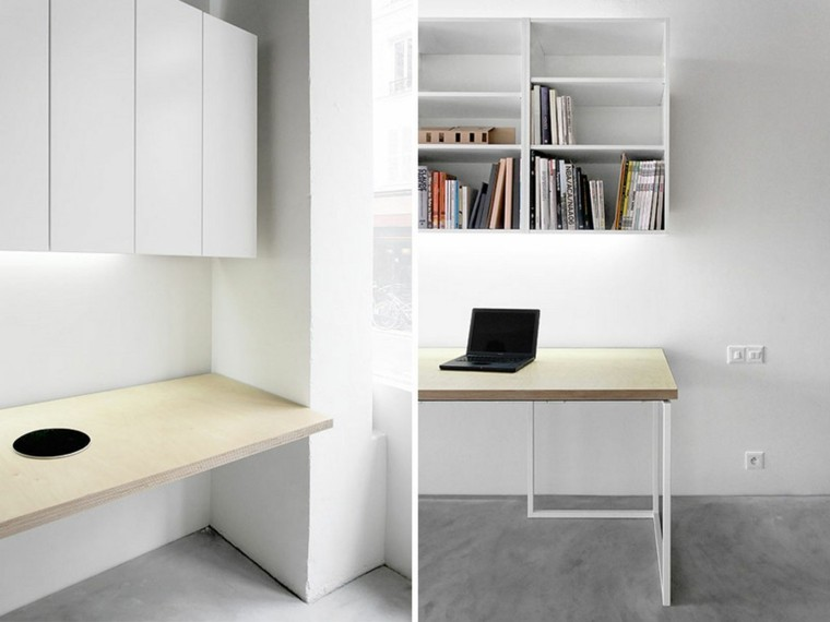 diseño oficina blanca estilo minimal