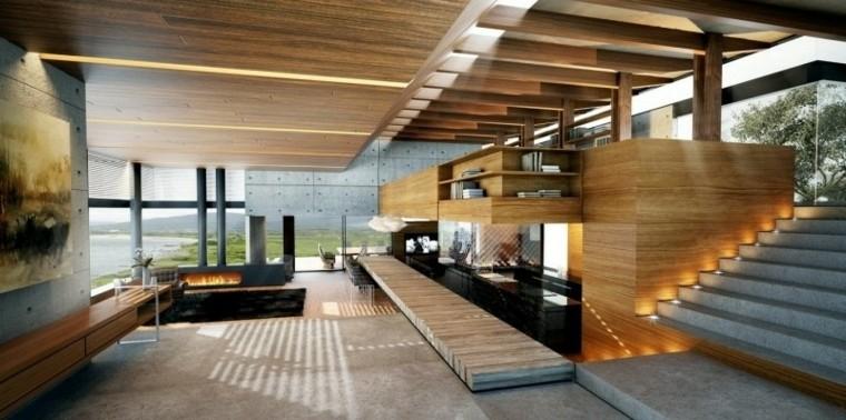 diseño salon mdoerno cemento madera