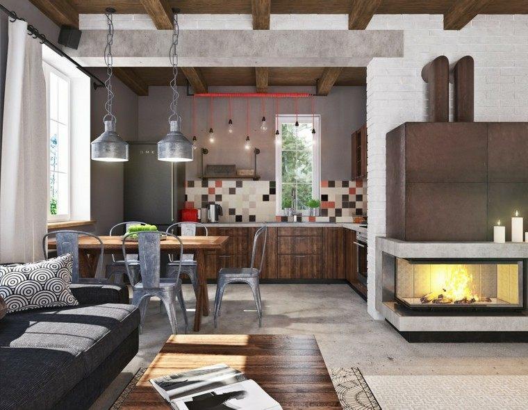 diseño salon moderno metal cemento
