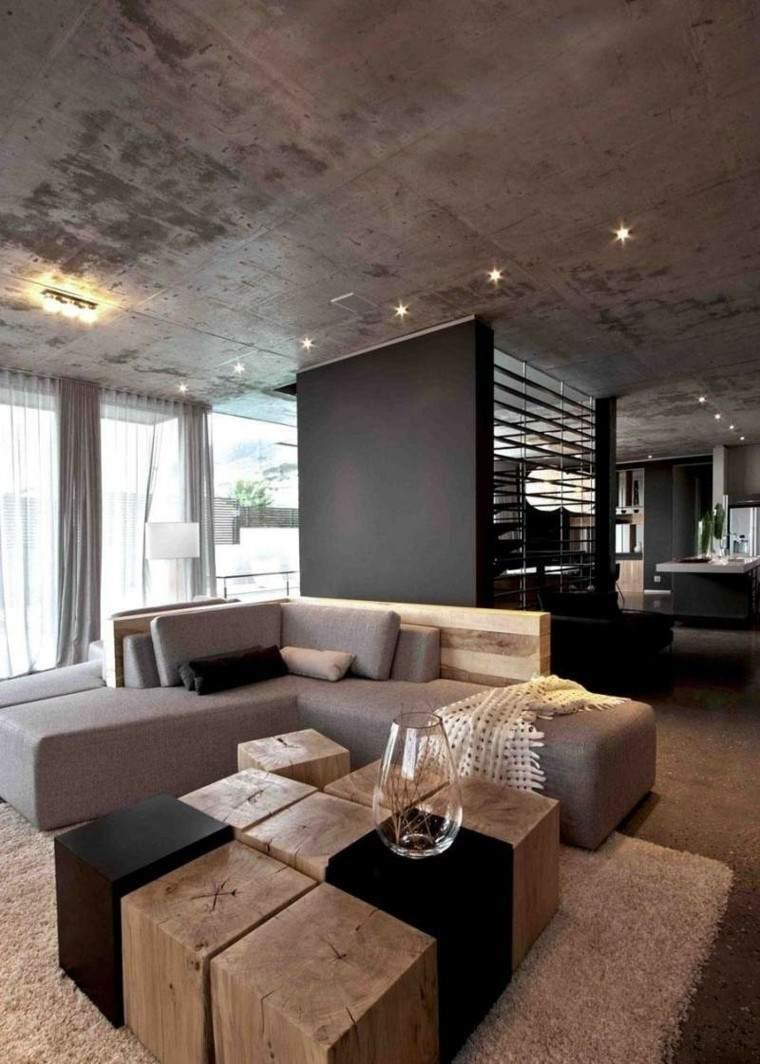 diseño salon moderno techo cemento
