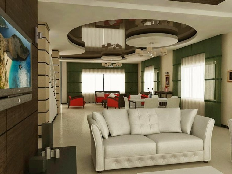 diseño techo formas redondas lamparas