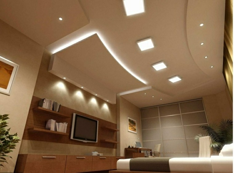 diseño techos falsos luces Led