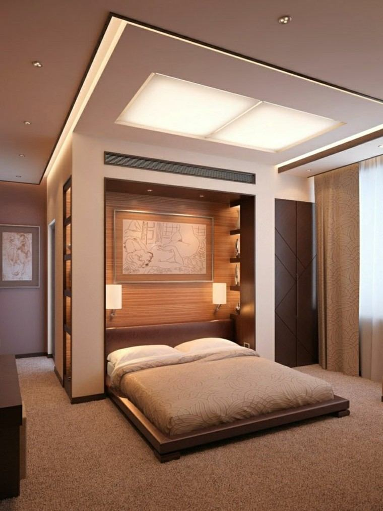 Falso techo de dise o moderno cincuenta modelos - Madera para techos interiores ...