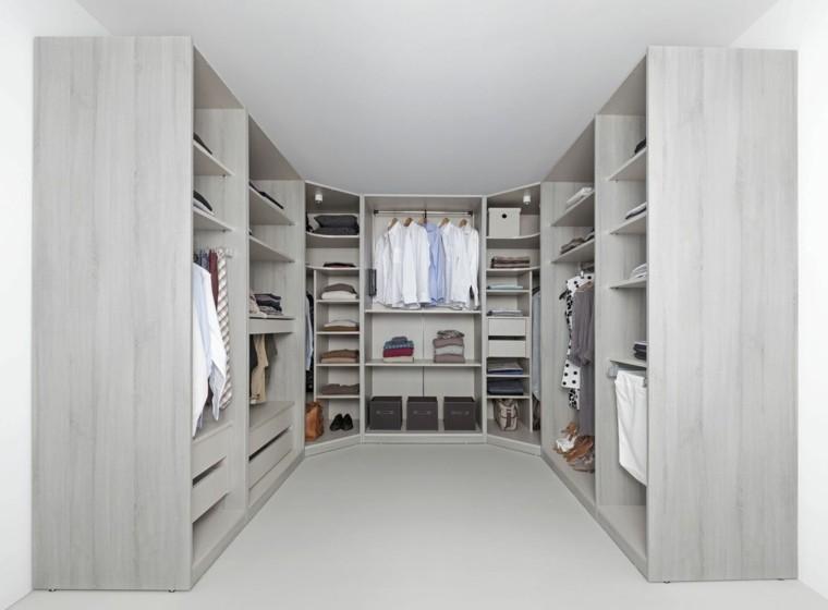 diseño vestidor madera color gris