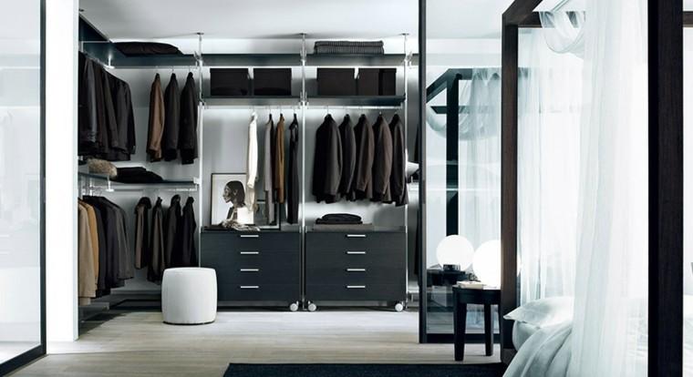 diseño vestidores modernos estantes metal