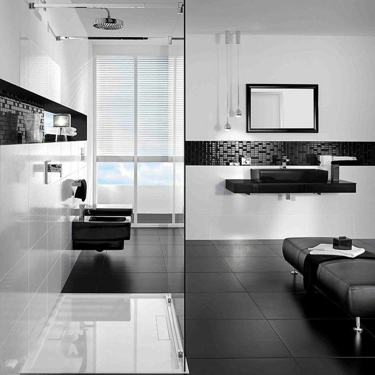 diseño baños blanco negro suelo