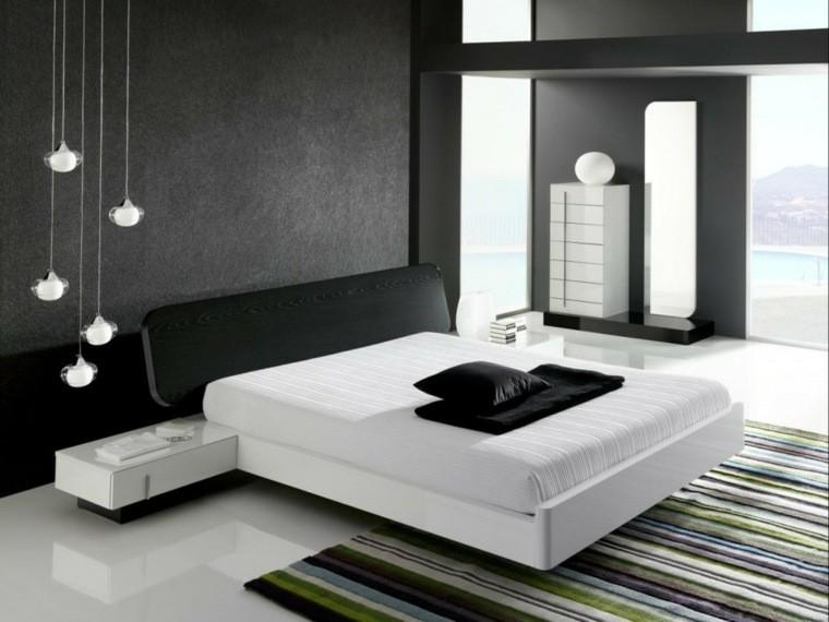 diseño dormitorio tonos grises negro