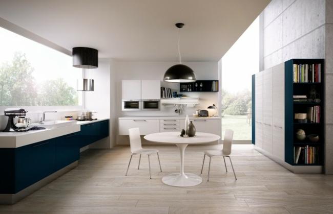 diseño cocina madera mueble azul