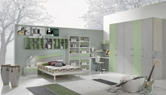 diseño cuarto colores claros verdes