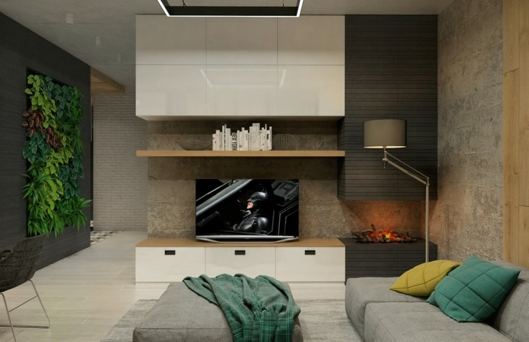 diseño sala estar jardin vertical cojines