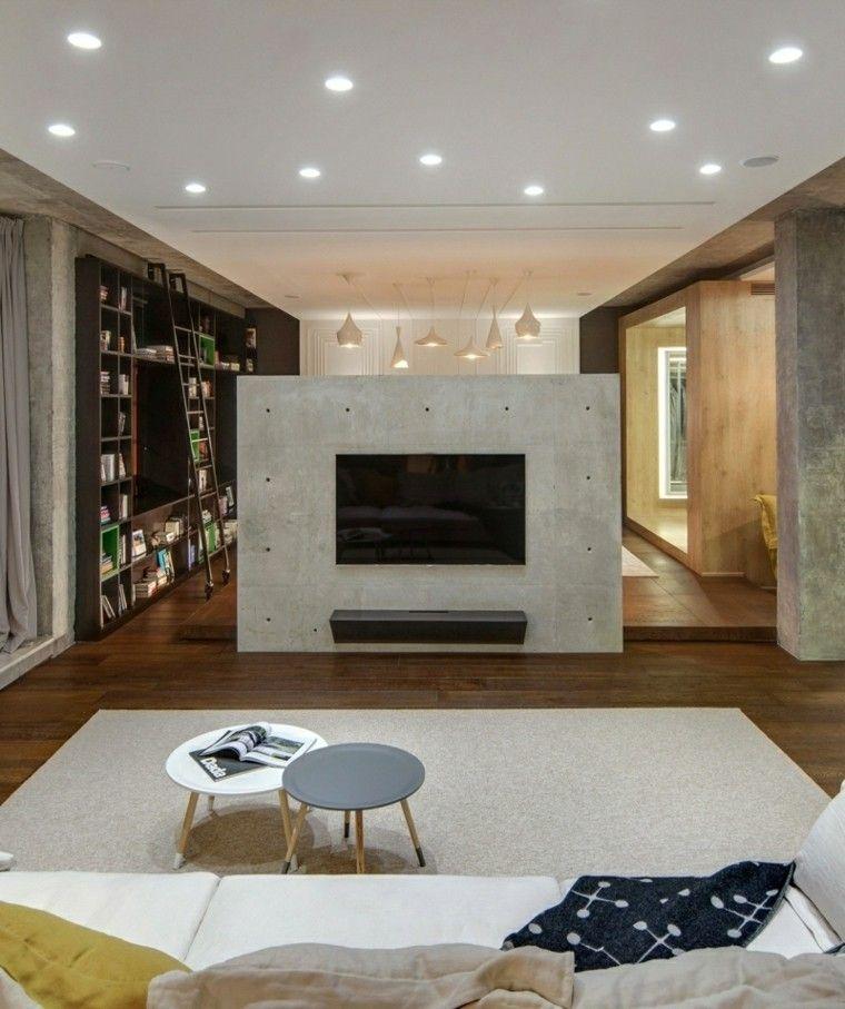 Hormigon como elemento decorativo de interiores Diseno de interiores sala de estar
