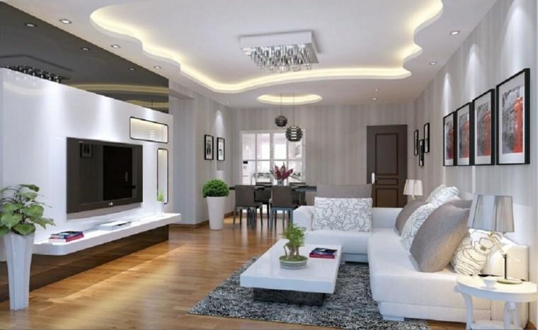 Falso techo de dise o moderno cincuenta modelos - Decoration des salon placoplatre ...