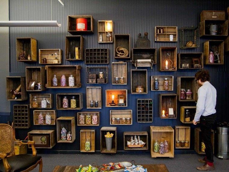 diseño estantes salon cajas madera