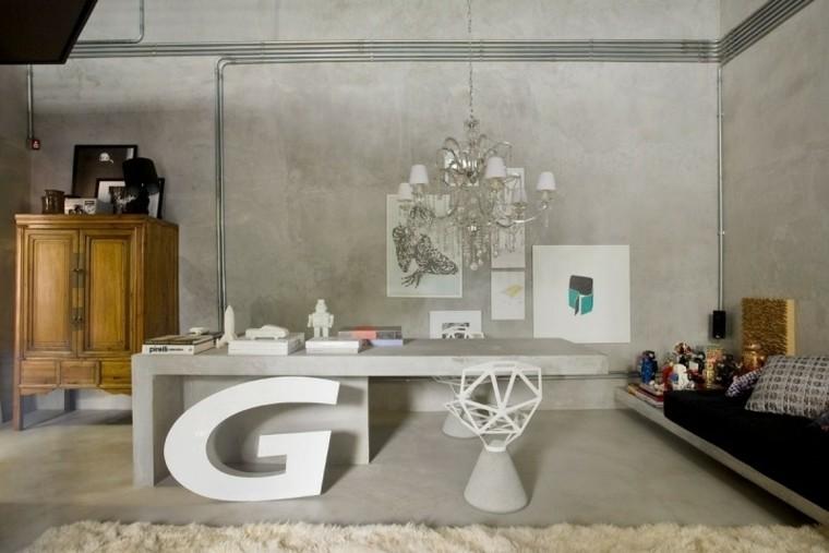 diseños interiores modernos paredes hormigon