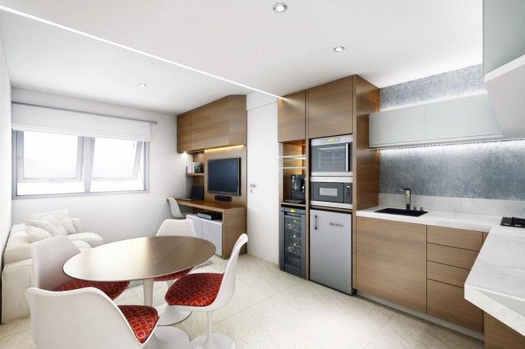 Dise o cocinas abiertas al sal n pr cticas y funcionales for Cocina para departamento pequeno
