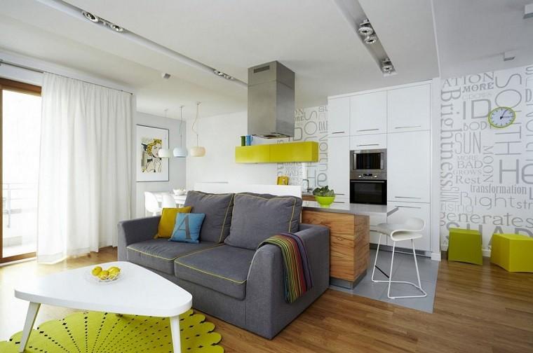 Dise o cocinas abiertas al sal n pr cticas y funcionales Cocinas pequenas integradas en el salon