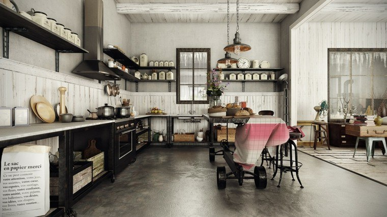 Agradable  Diseno De Cortinas De Cocina #4: Diseno-estilo-rustico-cocina-isla-ruedas.jpg